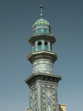 Alminar de la mezquita de Fatima Masumeh en Qum Irán foto de archivo