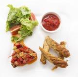 Almoço ajustado com salsichas Imagem de Stock Royalty Free