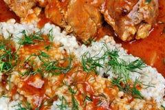 Almoço com carne e molho Fotos de Stock Royalty Free