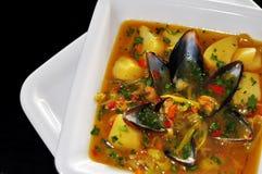 Almoço com sopa do escudo Imagens de Stock