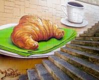 Almoço completo - croissant e café Fotografia de Stock