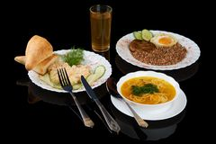 Almoço de negócio no preto Foto de Stock Royalty Free
