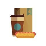 Almoço do fast food no projeto liso Foto de Stock