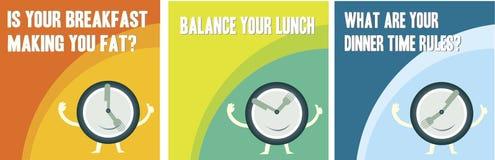 Almoço e jantar do café da manhã Imagens de Stock Royalty Free