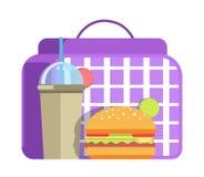 Almoço escolar com Hamburger e o copo grandes da soda doce Imagem de Stock Royalty Free