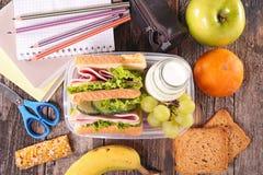 Almoço escolar do sanduíche imagens de stock