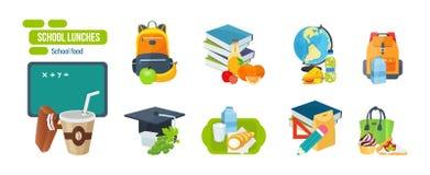 Almoço escolar que consiste em frutos, vegetais, sanduíches, bebidas, produtos de leite ilustração stock