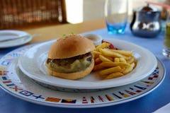 Almoço grego com hamburguer e batatas fritas fotos de stock