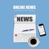 Almoço, jornal em linha da notícia da ilustração no estilo Imagens de Stock