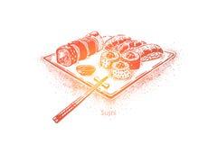 Almoço oriental, menu do restaurante do marisco, placa do sushi, rolos de atum com arroz, maki dos salmões e hashis ilustração do vetor