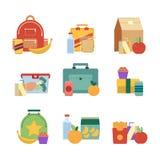 Almoço saudável na caixa plástica Cesta de comida para crianças Isolado ajustado da ilustração do vetor no fundo branco ilustração stock
