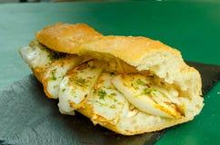 Almoço valencian típico do sanduíche do Sepia fotos de stock