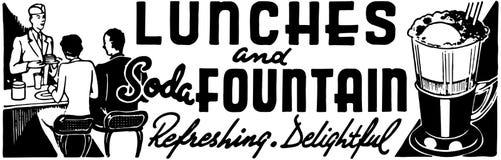 Almoços e fonte de soda ilustração royalty free