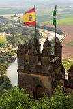 Almodovar Del Rio medieval castle with flags of Spain and Andalusia Royalty Free Stock Images