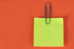 Almofada de nota amarela Fotografia de Stock