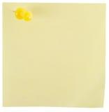 Almofada de nota amarela com pino amarelo Imagem de Stock