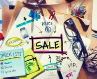 Almofada de nota com conceitos da venda fotografia de stock