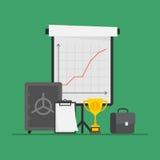 Almofada de nota de Flip Chart Cup Suitcase Safe do negócio do conceito Fotografia de Stock