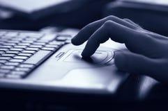 Almofada e mão de toque Imagem de Stock