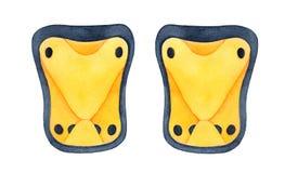 Almofadas amarelas brilhantes do joelho e de cotovelo para várias multi atividades exteriores do esporte como biking, scootering, ilustração stock