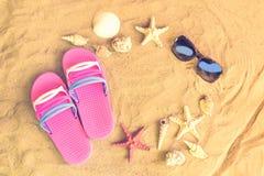 Almofadinhas, óculos de sol, estrelas do mar e conchas do mar cor-de-rosa da aleta Foto de Stock