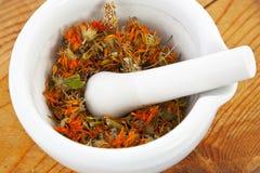 Almofariz branco com a flor seca do marigold fotos de stock royalty free