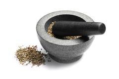Almofariz com sementes de cânhamo foto de stock
