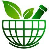 Almofariz da farmácia e globo do pilão ilustração stock