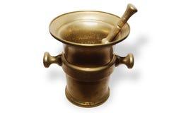 Almofariz de bronze da farmácia Imagem de Stock Royalty Free