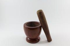 Almofariz de madeira Fotos de Stock Royalty Free