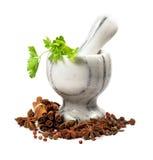Almofariz de pedra e especiarias isolados Imagem de Stock Royalty Free