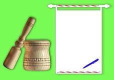 Almofariz e pilão à mão de madeira Imagens de Stock