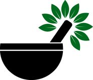 Almofariz e pilão com logotipo erval ilustração royalty free