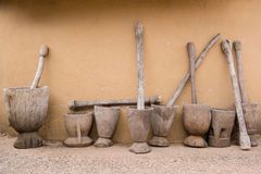Almofariz e pilão de madeira Foto de Stock Royalty Free