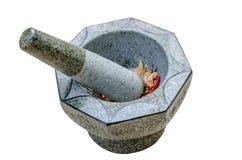 Almofariz e pilão de pedra no fundo Imagem de Stock Royalty Free