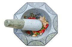 Almofariz e pilão de pedra no fundo isolado Fotografia de Stock