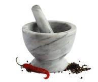 Almofariz e pimenta vermelha Imagem de Stock