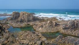 Almograve海岸,葡萄牙 库存图片