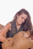 Almohada de perforación de la mujer Imagen de archivo libre de regalías
