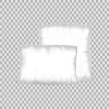 Almohada realista del blanco de la plantilla del modelo Forma blanca vacía del cuadrado de la almohada Foto de archivo