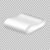 Almohada realista del blanco de la plantilla del modelo Forma redondeada almohada blanca vacía Imagen de archivo