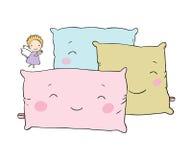 Almohadas hermosas y pequeño ángel lindo libre illustration