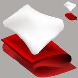 Almohadilla suave y manta roja Fotografía de archivo