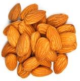 Almond. Macro photo of almond seeds isolated on white Stock Image
