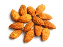Almond. Pile of almonds on white background Stock Photography