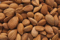 Almond. Nuts close up background Stock Images