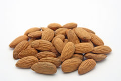 Almond. Nuts on white background stock image