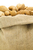 Almond. S in burlap sack craft Stock Photos