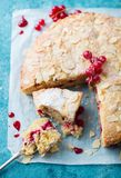 Almond And Raspberry Cake, Bakewell Tart. Traditional British Pastry. Blue Background. Top View. Royalty Free Stock Photos