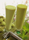 Almond and avocado milk shakes Royalty Free Stock Images